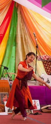 Fabrizia dancing at Osho Leela Festival in Dorset, photo by Kutira Warnke, May 2013
