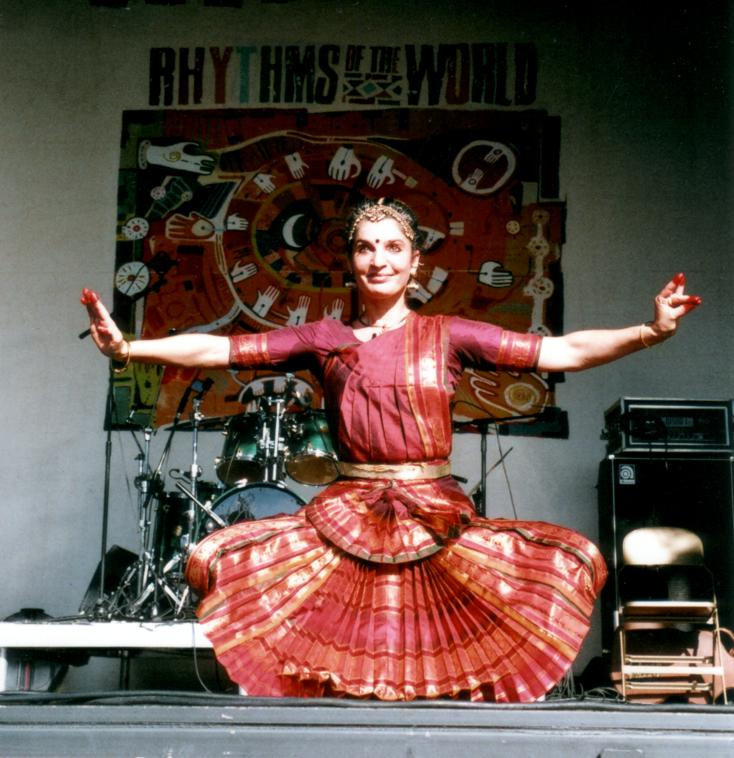 Fabrizia dancing at Rhythms of The World festival in Hitchin