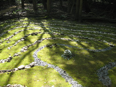 Dappled sunlight on The Labyrinth at Michael's Folly, photo by Tracy Lloyd Evans |